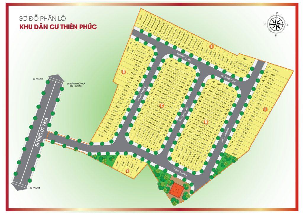 Sơ đồ phân lô dự án Thiên Phúc Residence
