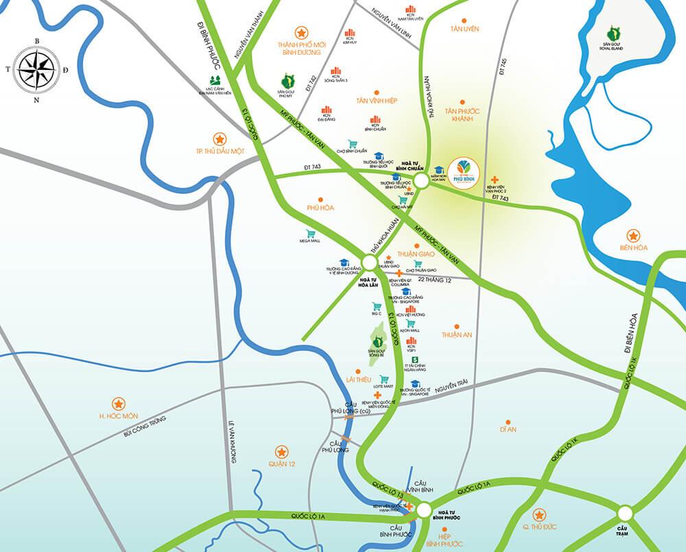 Vị trí dự án Khu đô thị Cát Tường Phú Bình của tập đoàn Cát Tường group